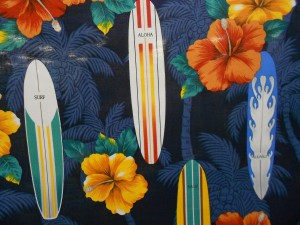 The palm trees & the writing on the surf boards indicate a directional print.