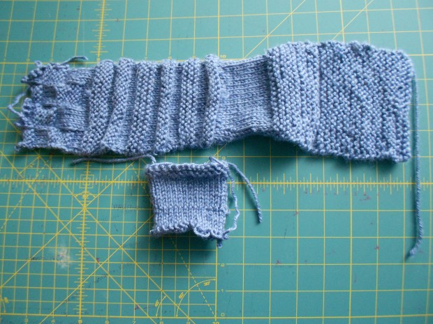 A couple of my first swatches - just to experiment and learn what the different stitches made.